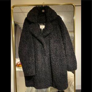 Sandro faux fur teddy coat, size 1, black